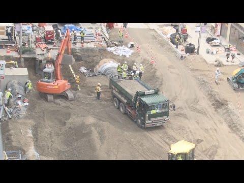 ガス管、上水道など大半復旧 JR博多駅前の道路大規模陥没事故