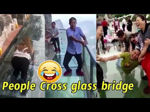 People are terrified to cross glass bridge | Glass bridge crack effect | Glass bridge funny moments