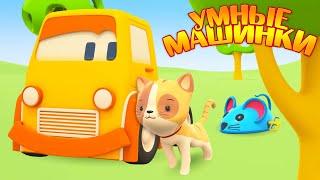 Умные машинки и котенок - Развивающие мультики про машинки. Животные для малышей.