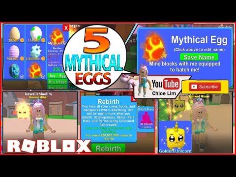 Chloe Tuber Roblox Mining Simulator Gameplay 5 Mythical Eggs
