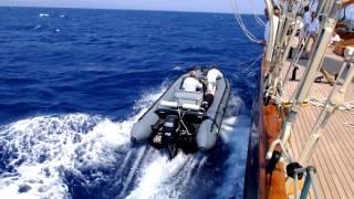 3-Mast Schooner Atlantic launches her tender under sail