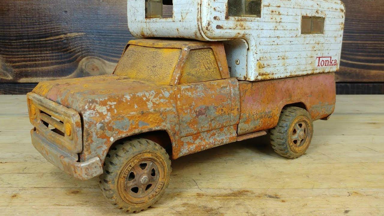 Rusty 1960's Tonka Pickup Dodge Camper Restoration