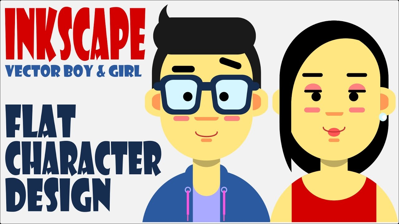 Inkscape Character Design Tutorial : Easy flat character design using inkscape vector boy and