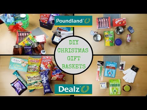4 DIY POUNDLAND (DEALZ) CHRISTMAS GIFT BASKETS