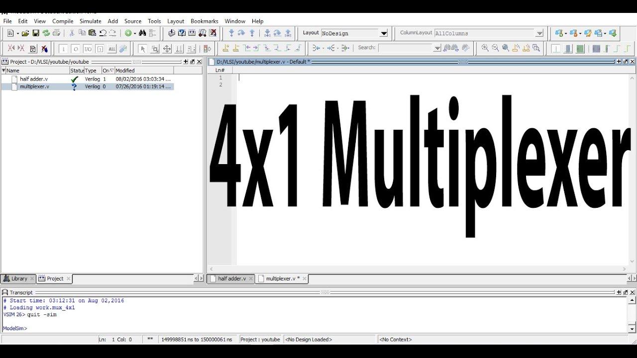 Verilog code of 4x1 Multiplexer