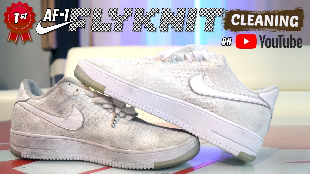 Virgen más y más Hecho de  The best way to clean ALL WHITE Nike Flyknit Air Force 1s. - YouTube