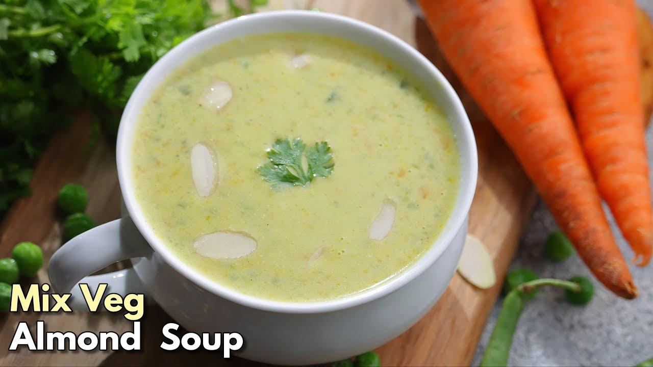 పోషకాలు నిండిన మిక్స్ వెజ్ బాదాం సూప్ |Healthy  Mix veg Almond / Badam Soup recipe @Vismai Food