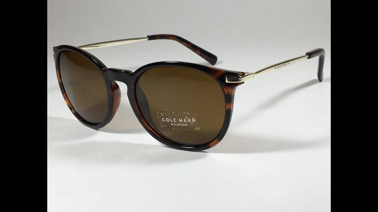 8d92a38822 New Authentic Cole Haan Polarized Keyhole Sunglasses Dark Tortoise Pale  Gold Brown Lens CH7023
