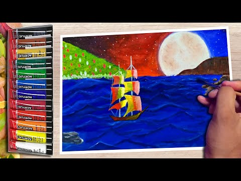 Acrylic painting of night sky moonlight ship | Landscape painting demo| Step by step for beginner