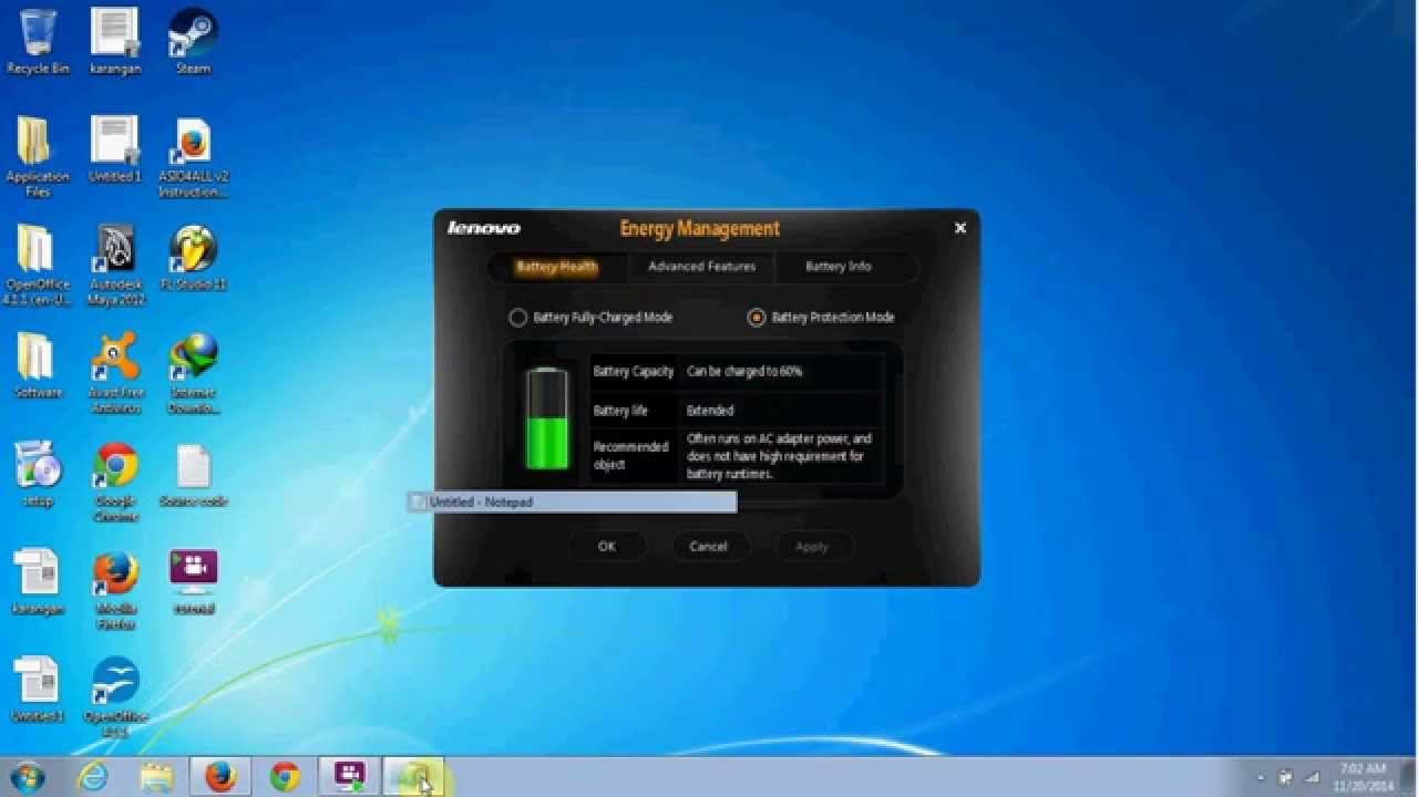 how to change max battery charge windows 7