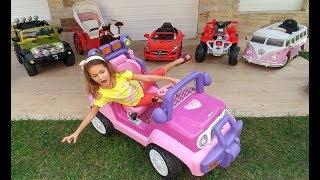 AKÜLÜ ARABALAR YARIŞIYOR CHALLENGE.Prenses jeep, Yeşil jeep, Pembe Otobüs, ATV, Fayton