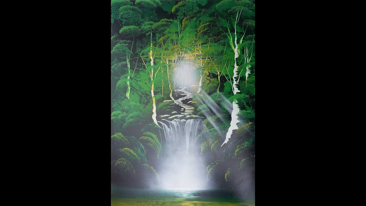 spray paint art green forest with waterfall made by street artist. Black Bedroom Furniture Sets. Home Design Ideas