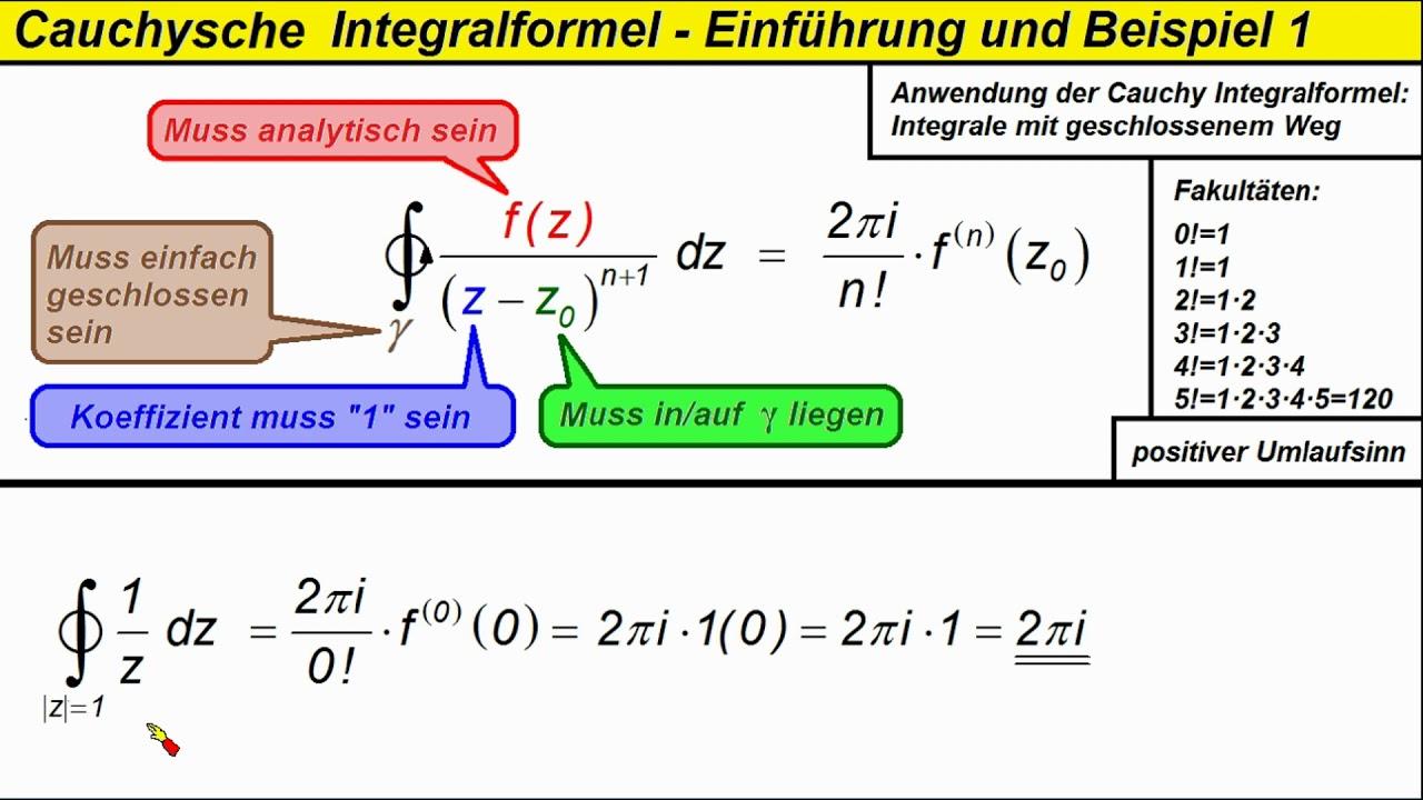 Cauchysche Integralformel 1 Einfuhrung Und Beispiel Nr 1 Youtube