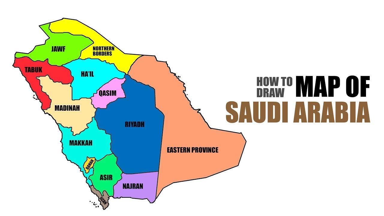 How To Draw Map Of Saudi Arabia كيفية رسم خريطة المملكة العربية السعودية Youtube