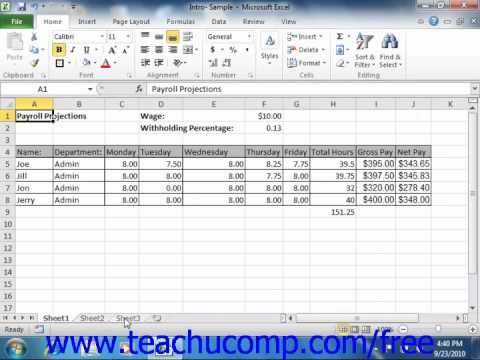 Excel 2010 Tutorial Selecting Multiple Worksheets Microsoft Training Lesson  8.2