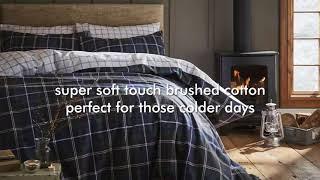 Catherine Lansfield - Brushed Tartan Check Navy Bedding