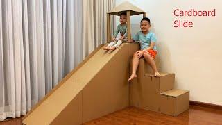 DIY | How to Build a Cardboard Slide - How To Make a Big Cardboard House for Kids | Papa & Baby MV