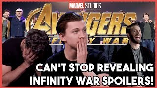 AVENGERS Cast Can't Stop their SPOILERS! |  INFINITY WAR 2018 thumbnail