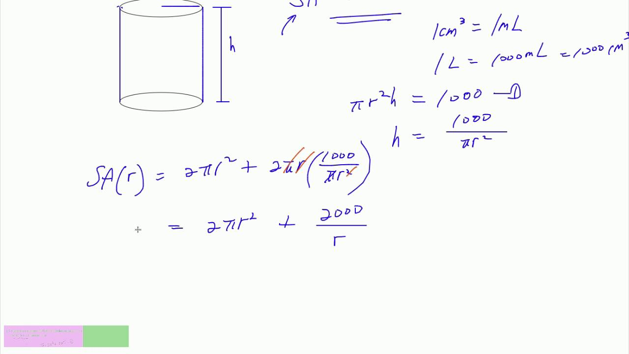 Minimizing The Cost Of Surface Area Of Cylinder How To Calculate