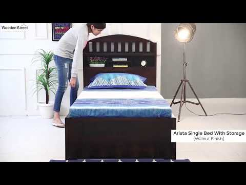 Single Beds- Shop Arista Single bed with Storage in Walnut Finish from Wooden Street