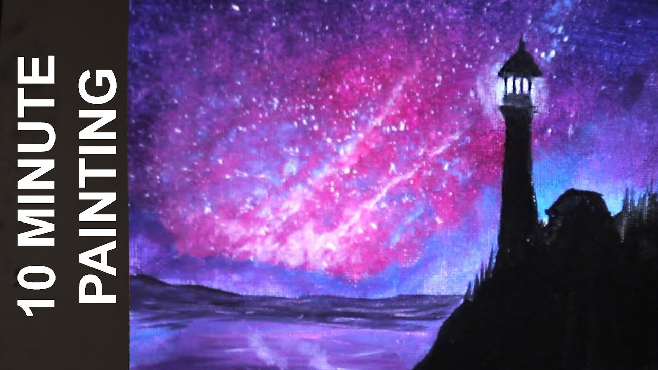 Painting a Galaxy Over a Lighouthouse on the Ocean with Acrylics in 10  Minutes!