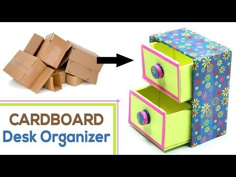 How to Make DIY Desk Organizer with Waste Cardboard Craft