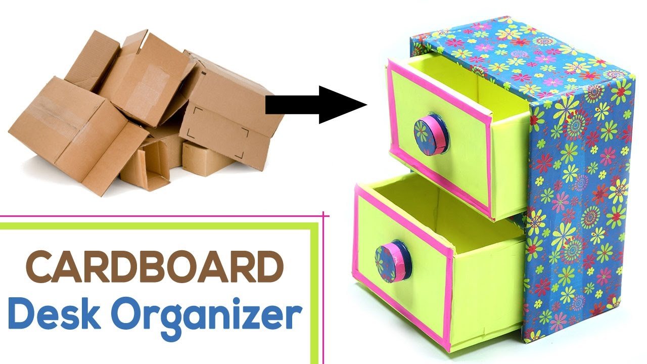 How To Make Diy Desk Organizer With Waste Cardboard Craft Youtube