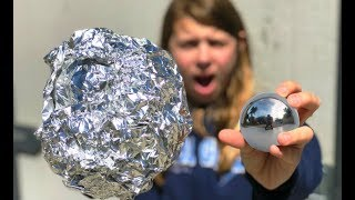 Japanese mirror ball FAIL!! | Aluminum foil ball smashed and polished into a chrome ball!