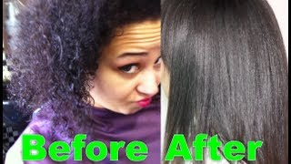 Korean Magic Straight perm on 4a-4b afro-textured hair and air dry