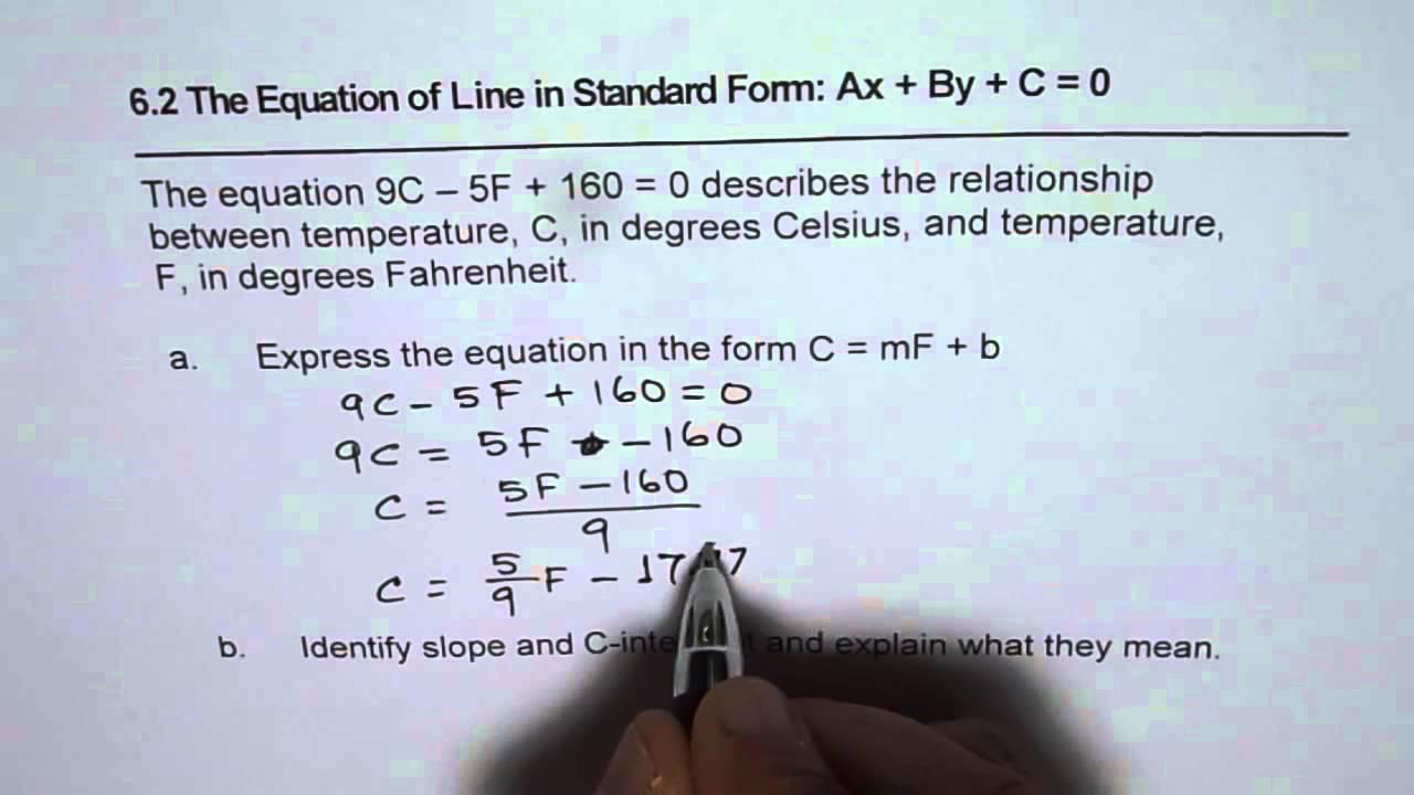 Convert celsius fahrenheit temperature from standard to slope convert celsius fahrenheit temperature from standard to slope intercept form of line falaconquin
