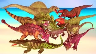 TOP 10 DEADLIEST & DANGEROUS DINOSAURS Fight & Battle T REX SPINOSAURUS ALLOSAURUS  SuperFunReviews