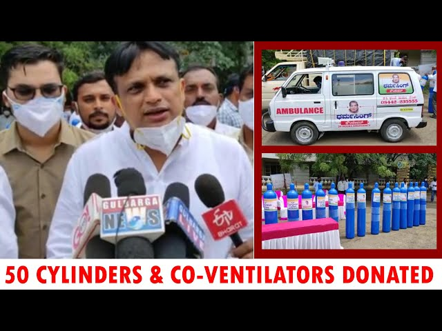 50 OXYGEN CYLINDERS & 10 CO-VENTILATORS DONOTES TO GULBARGA ADMINISTRATION
