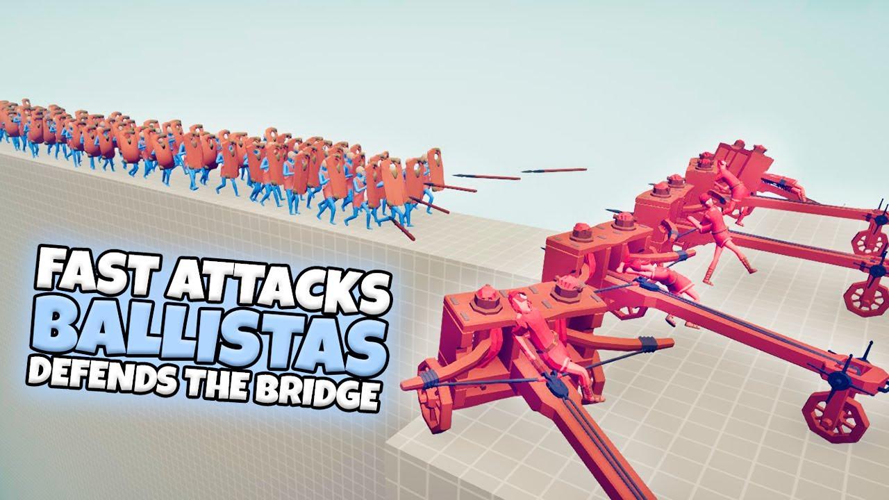 FAST ATTACKS BALLISTAS DEFENDS THE BRIDGE VS EVERY FACTION | TABS GAMEPLAY