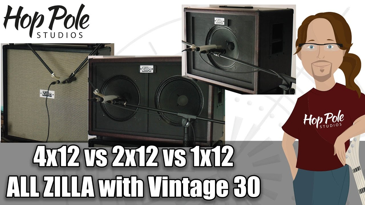 Download 4x12 vs 2x12 vs 1x12 Guitar Cab comparison:- All ZIlla, all Vintage 30