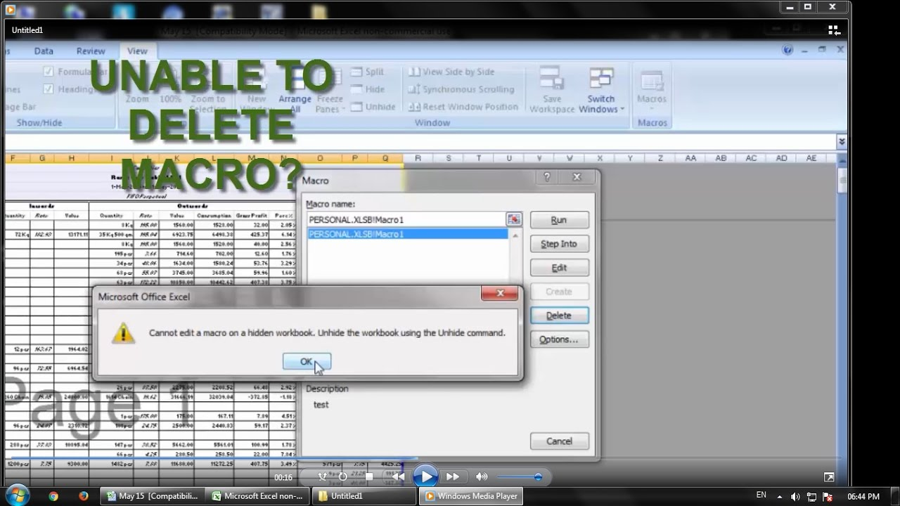 Workbooks unhide personal workbook : Cannot edit a macro on a hidden workbook. Unhide the workbook ...