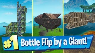 Land a Bottle Flip on a target near a Giant Fish, Llama or Pig - Fortnite Bullseye Challenge