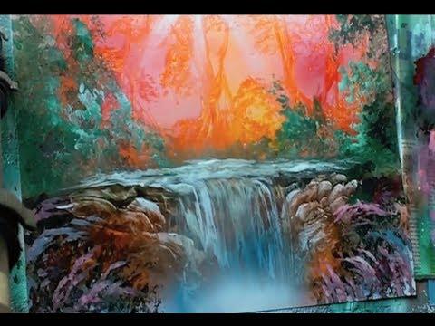 spray paint art peach waterfall full video
