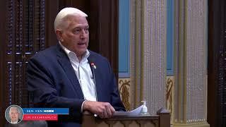 Sen. Horn addresses the Senate on the balance of power