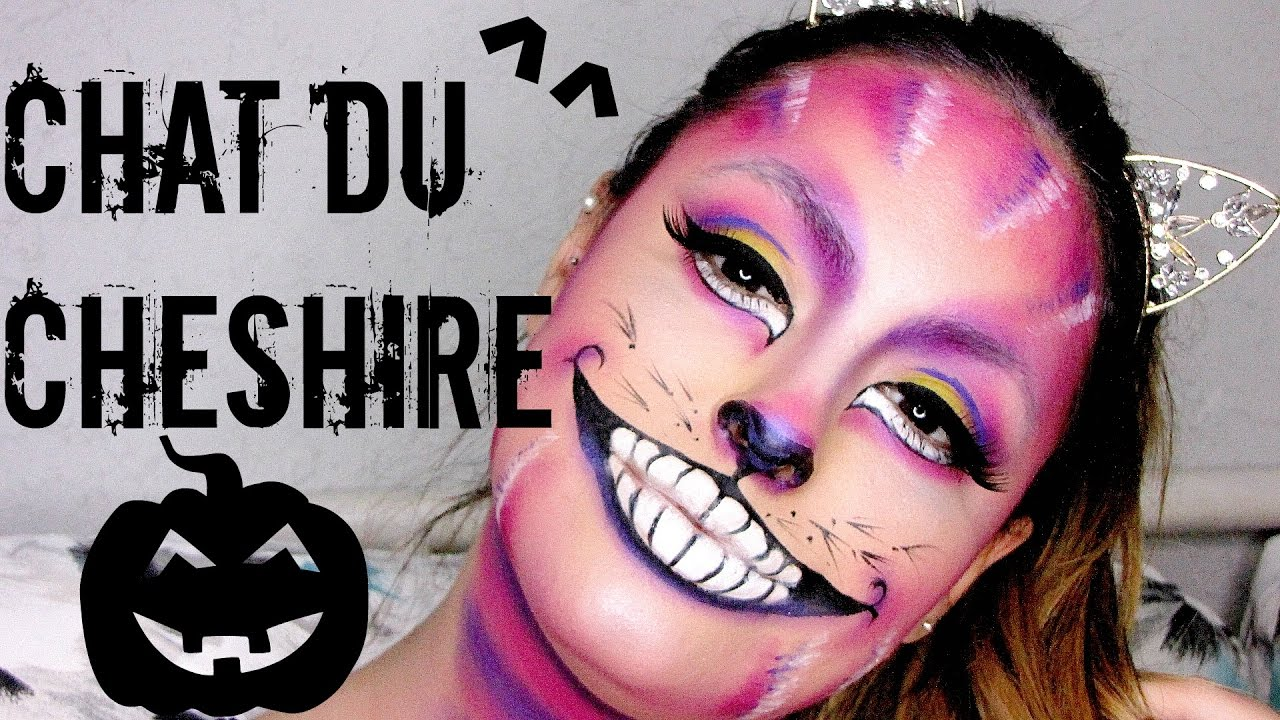 maquillage d 39 halloween le chat dans alice aux pays des merveilles cheshire cat youtube. Black Bedroom Furniture Sets. Home Design Ideas