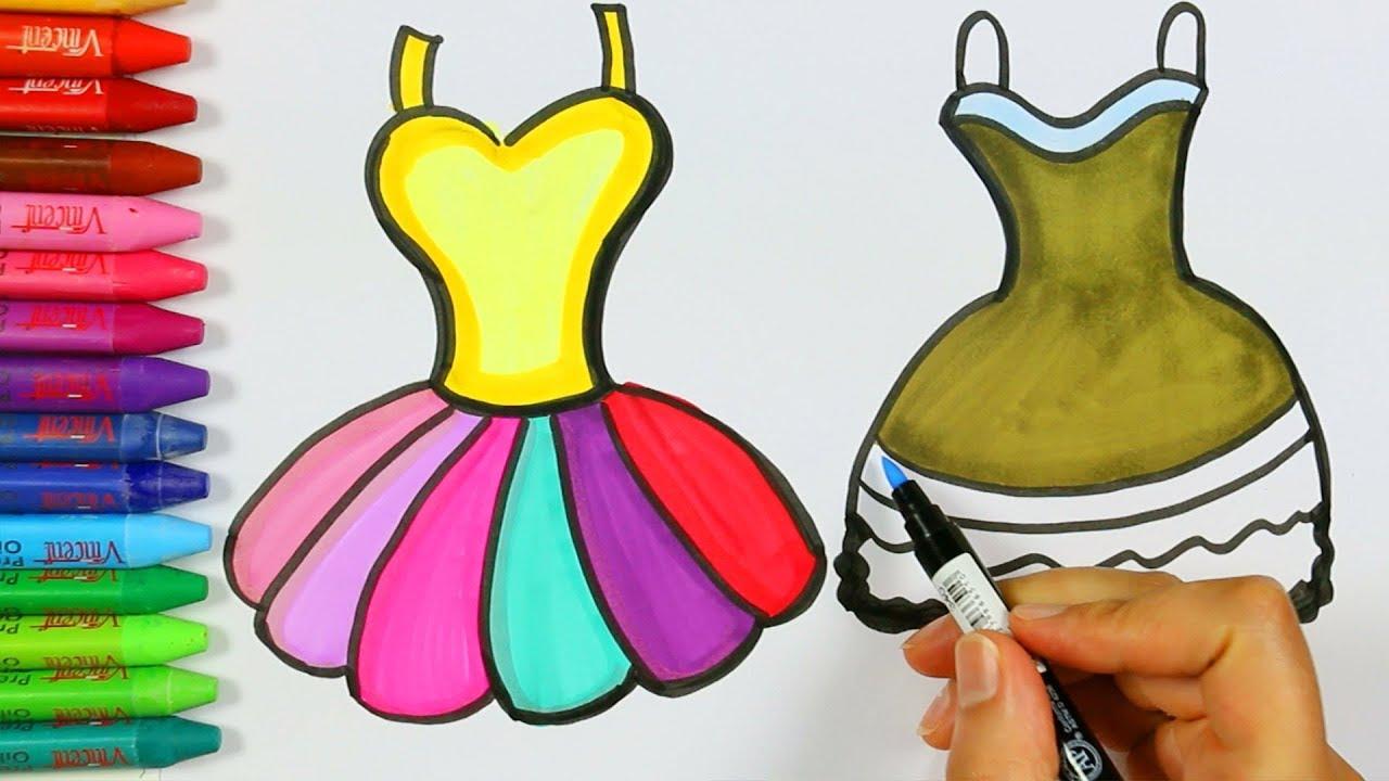 Renkli Elbise çizimi Nasıl Yapılır Elbise çizimi Elbise