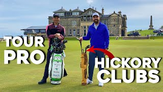 Playing St Andrews BACKẄARDS using hickory (wooden) golf clubs