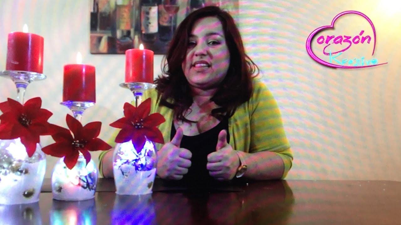 Como hacer centros de mesa para navidad con copas youtube - Hacer centros de navidad ...