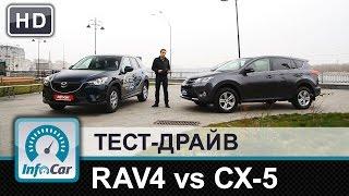 Toyota RAV4 diesel VS. Mazda CX-5 diesel - тест-сравнение от InfoCar.ua(Оба тестовых автомобиля в максимальных комплектациях, оба имеют 6-ступенчатые автоматические КПП и двигате..., 2014-12-01T08:35:54.000Z)