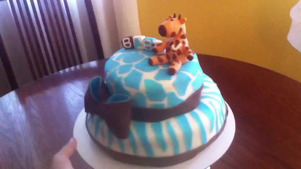 Blue Giraffe Safari Baby Shower Cake Youtube