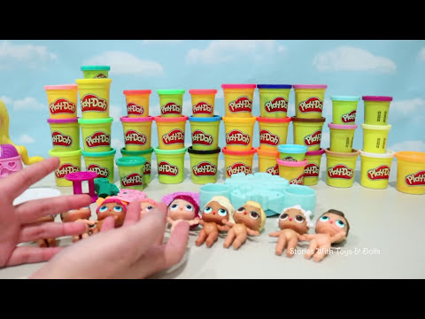 Play Doh Dresses ! Toys and Dolls Fun Playing Dress Up with LOL Surprise Babies