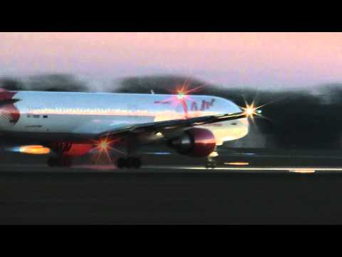 B757 VIM Airlines early take-off from Pardubice airport.