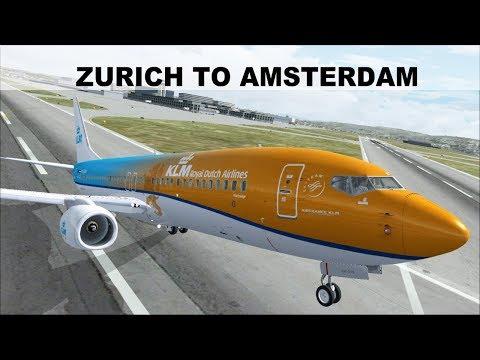 [FSX] SHORT FLIGHT ZURICH (LSZH) TO AMSTERDAM (EHAM) | KLM ROYAL DUTCH B737  | IVAO LIVESTREAM