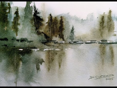 "Loose Transparent Watercolor Painting Demonstration ""Misty Lake"""