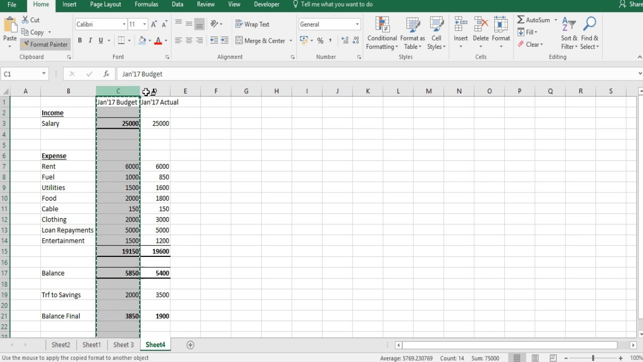 excel skills 29 setting up a monthly household budget youtube