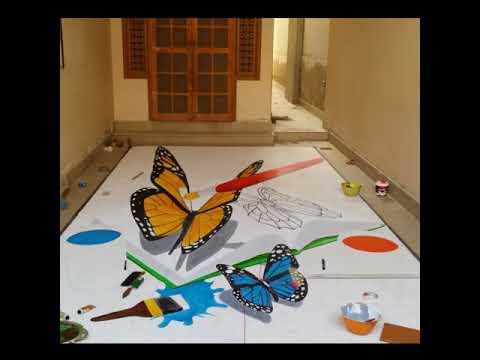 3D Street Art – Butterfly Painting – 3D Street Art Pakistan